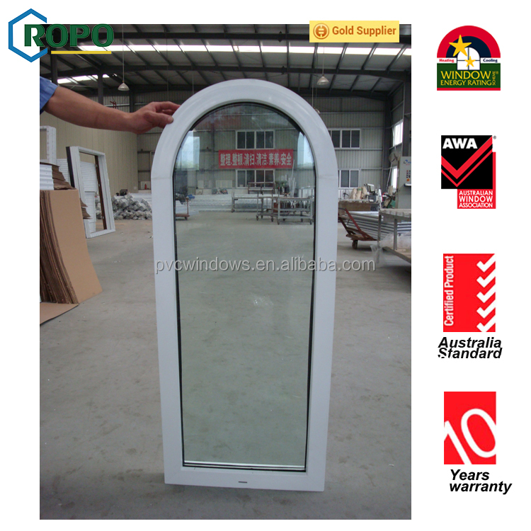 Double glazed plastic small size fixed windows, PVC arch windows