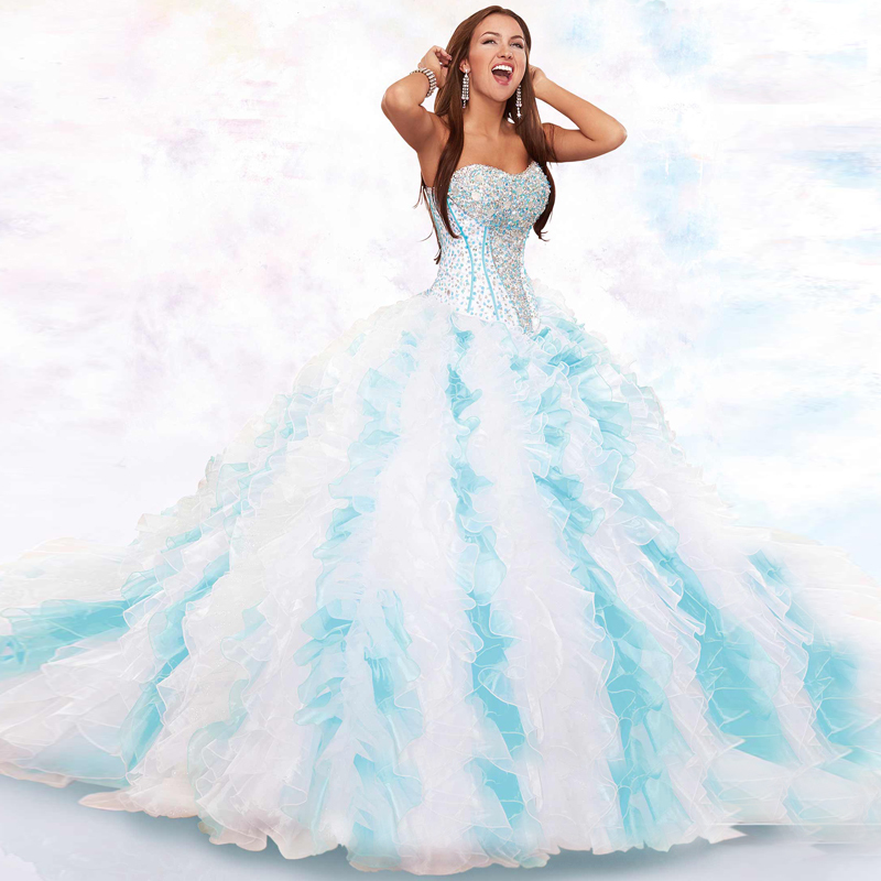 Stunning Ball Gown Multi Color Ruffles Organza Beading Sequined Custom Made 2016 New Arrival Quinceanera Dresses with Jacket