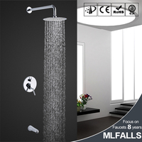 Polished chrome ceiling rain shower head 2 functions concealed wall mounted bathroom faucet mixer