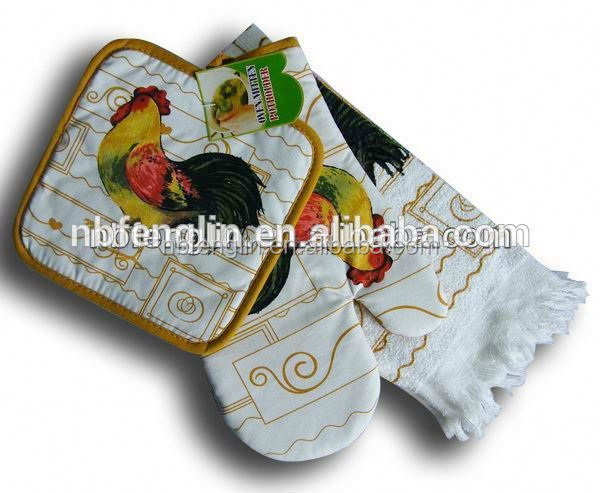 Rooster Printed 100% Cotton Twill 150gsm Kitchen Set including Oven Mitts, Pot Holder, Kitchen Softtextile Towel