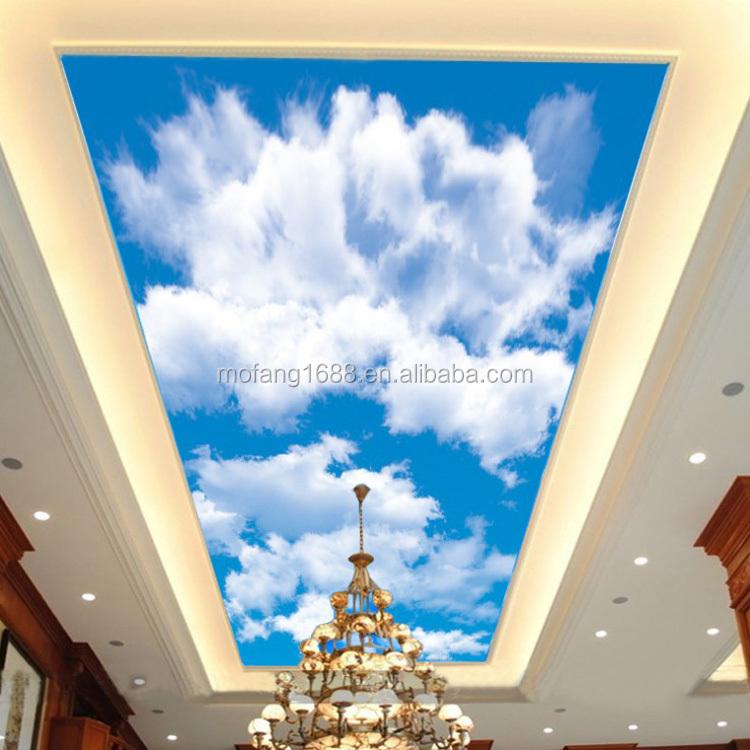 Mofang Vinyl Pvc Sky Blue Designs Of Ceiling Mural Wallpapers