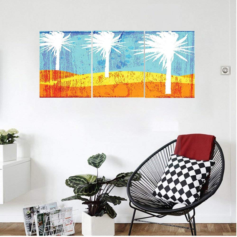 Liguo88 Custom canvas Burnt Orange Decor Contemporary Motley Stained Distressed Tropic Beach With Palms Graphic Work Bedroom Living Room Decor Orange Blue White