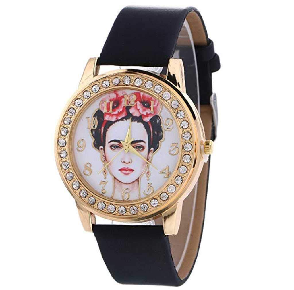 Clearance Sale! Womens Watches,ICHQ Women Quartz Watches Face Pattern Clearance Ladies Watches Female Watches on Sale Cheap Watches (Black)