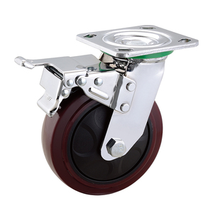 Industrial hand cart caster 4 to 8 inch heavy duty PU caster wheel
