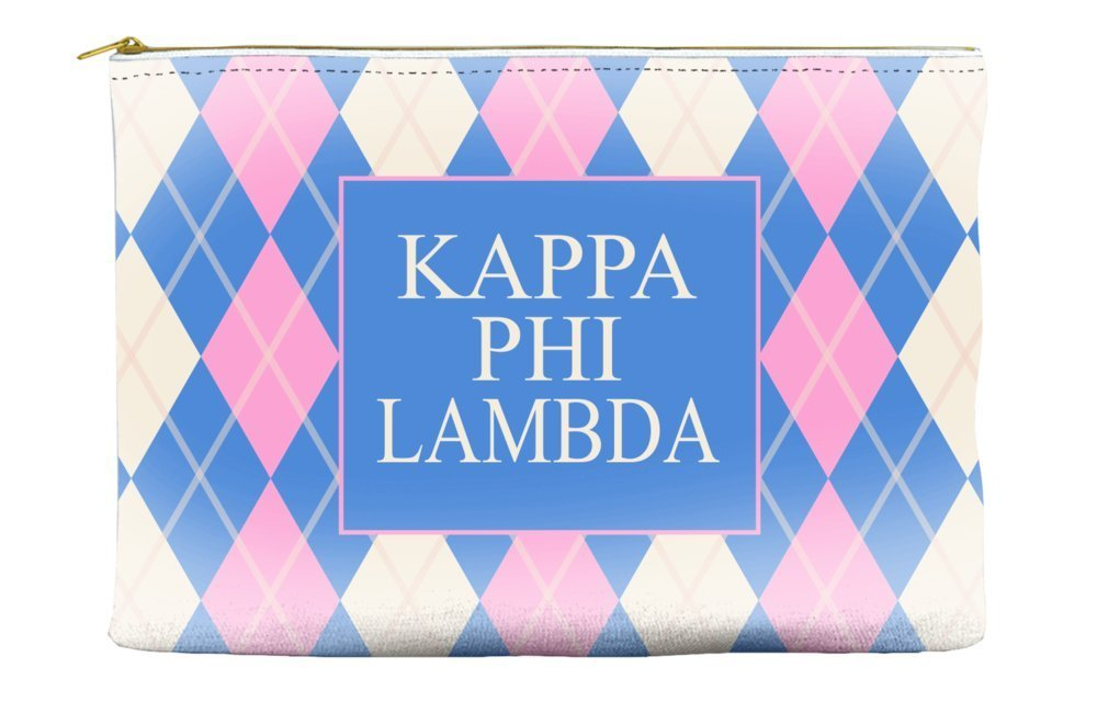 Kappa Phi Lambda Argyle Pattern Pink Blue Cosmetic Accessory Pouch Bag for Makeup Jewelry & other Essentials