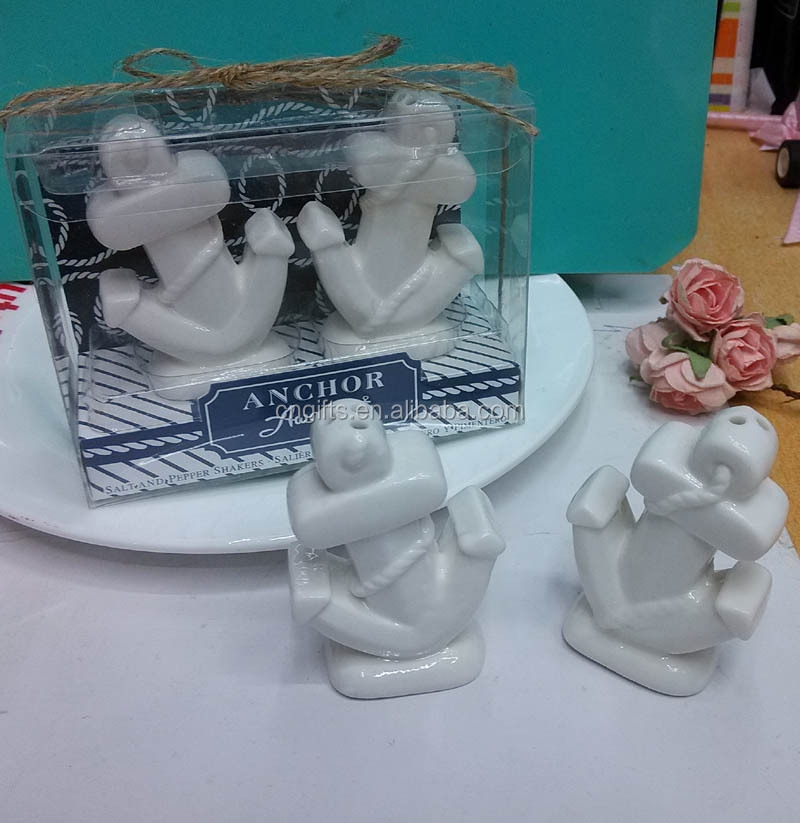 unique wedding party favors ceramic anchor salt and pepper shaker