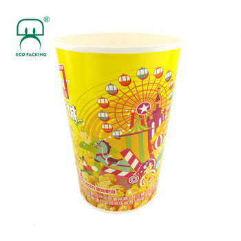 46oz 1500ml 500pcs/ctn tall printed paper popcorn bucket with lid