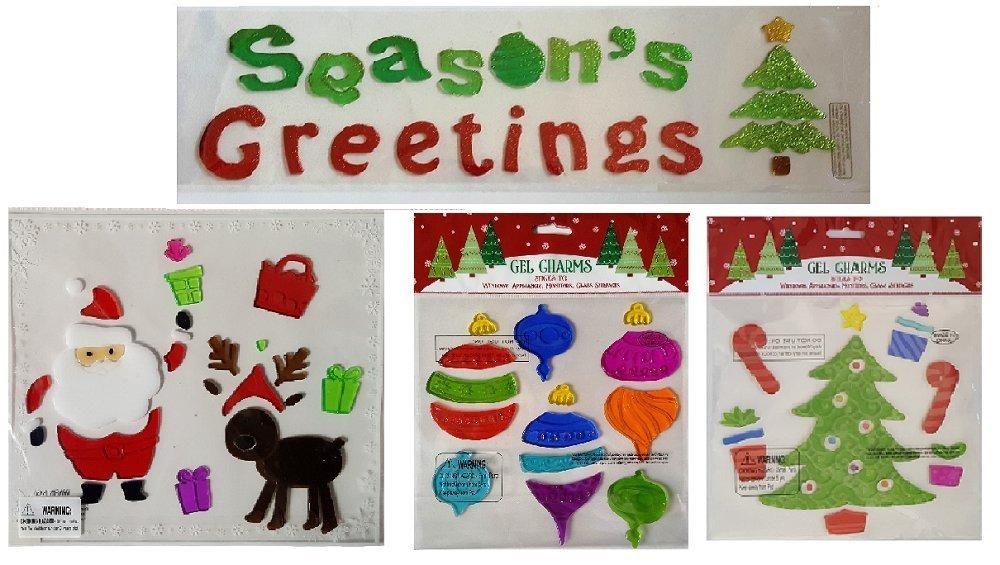Buy christmas window gel clings seasons greetings christmas christmas window gel clings seasons greetings christmas tree santa ornaments m4hsunfo