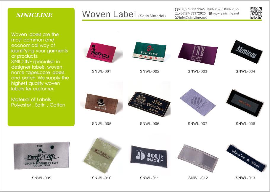 Sinicline sıcak satış ısmarlama konfeksiyon bakım etiketi yüksek çözünürlüklü dokuma etiket