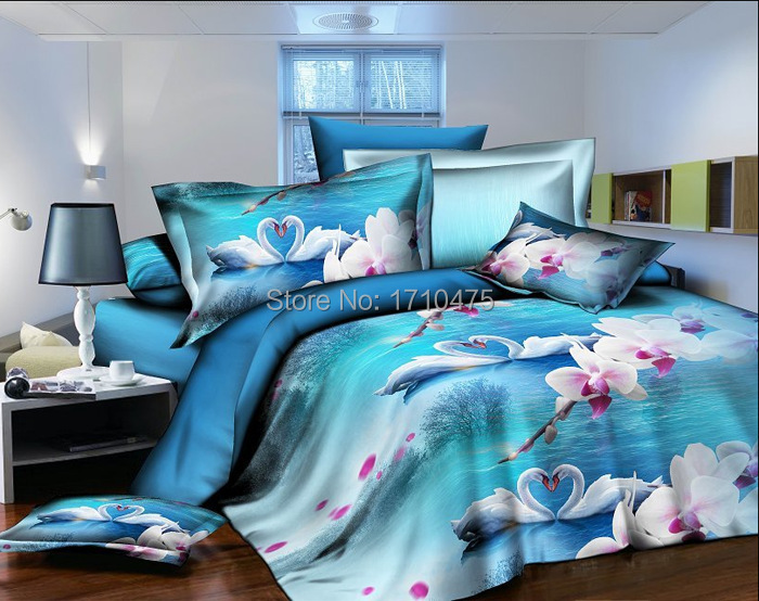 good quality blue swan pink flower trendy kids baby crib comforter queen size 3d bedding set in. Black Bedroom Furniture Sets. Home Design Ideas