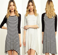 fashion lady pretty women OEM latest design Striped 3/4 sleeve asymetric dress indian clothing wholesale