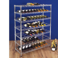 10F - DIY 5 Tiers Chrome Metal Slanted Wine Rack , NSF Approval