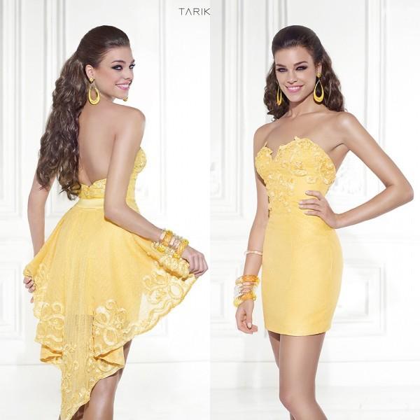 a7c85742e5f New 2015 Tarik Ediz Charming 2 Piece Yellow Short Graduation Dresses With  Applique Sweetheart Neck Hi