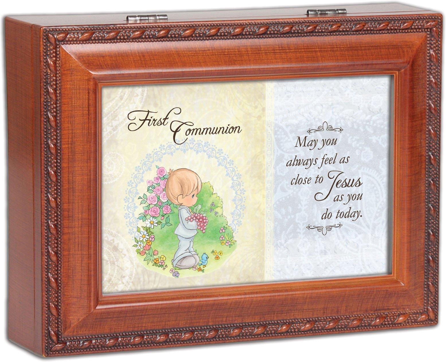 Precious Moments 1St Communion Boy Woodgrain Traditional Music Box Plays Jesus Loves Me