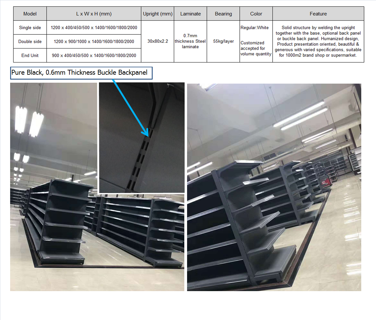 Foshan factory European style good quality standard supermarket display shelves