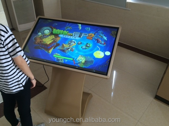 Interactive touch screen kiosk 32 android win system projected motherboard lvds screen connection for continuous playing of mp4