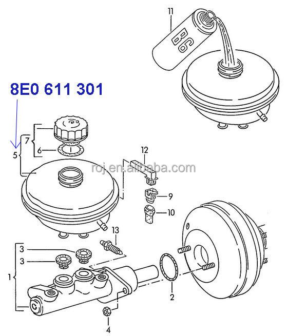 Auto Expansion Tank Brake Fluid For Audi A4 A6 Vw 8e0 611 301 ...