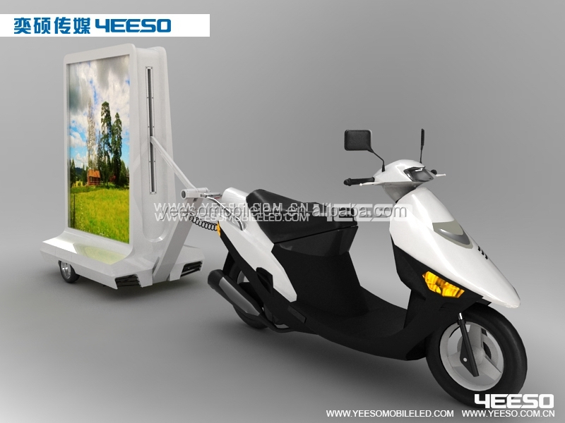 YEESO Mini Scooter Advertising Trailer,Electric motor tricycle with billboard