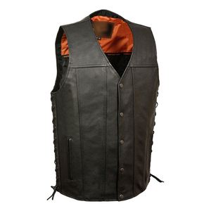 Heated Vest Added warmth for riding in the cold Leather Men's Straight Bottom Side Lace Heating Vest