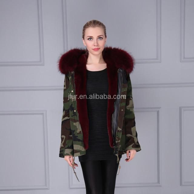 Custom Hooded Women and Men Bomber Jacket Coat Camouflage Fur Jacket