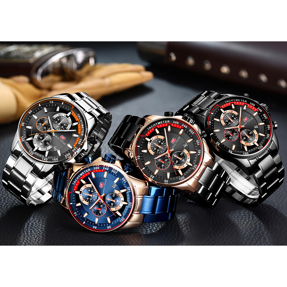 Mini Focus wholesale wrist watches chronograph men quartz watches in china watches with stainless steel band, Black brown blue
