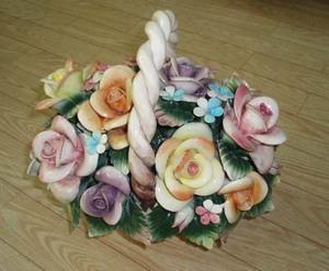 porcelain flower basket