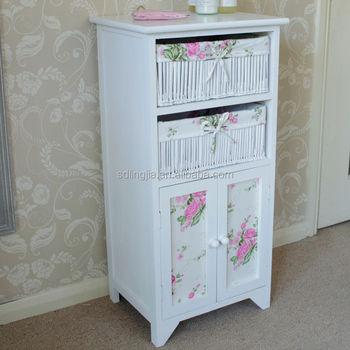 white floral wicker basket storage cabinet unit with cupboard bathroom girls bedroom: white storage unit wicker