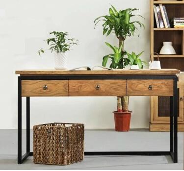 simple et moderne bureau en bois avec tiroirs bureau d 39 ordinateur fer r tro faire le vieux. Black Bedroom Furniture Sets. Home Design Ideas