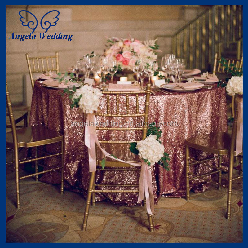 CL009D New Cheap Fancy Polyester Embroidery Beaded Glitter Metallic  Sequence Wedding Rose Gold Sequin Table Cloth