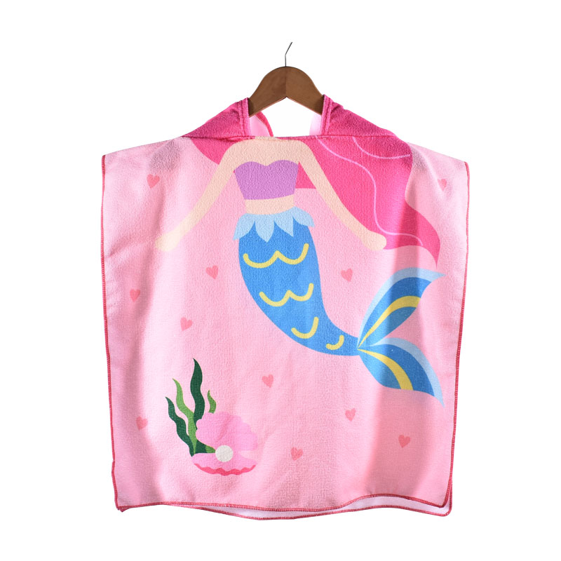 Cartoon Microfiber Kids Beach Poncho, Children Hooded Beach <strong>Towel</strong>