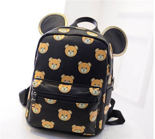 3490b2ec9c7d Buy 2015 New Women Cute Cartoon Backpacks Designer Brand Bear Printing  Backpack Leather European And American Style mos School Bags in Cheap Price  on ...