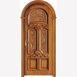 Guangzhou latest design red oak carving entrance room solid wood door design