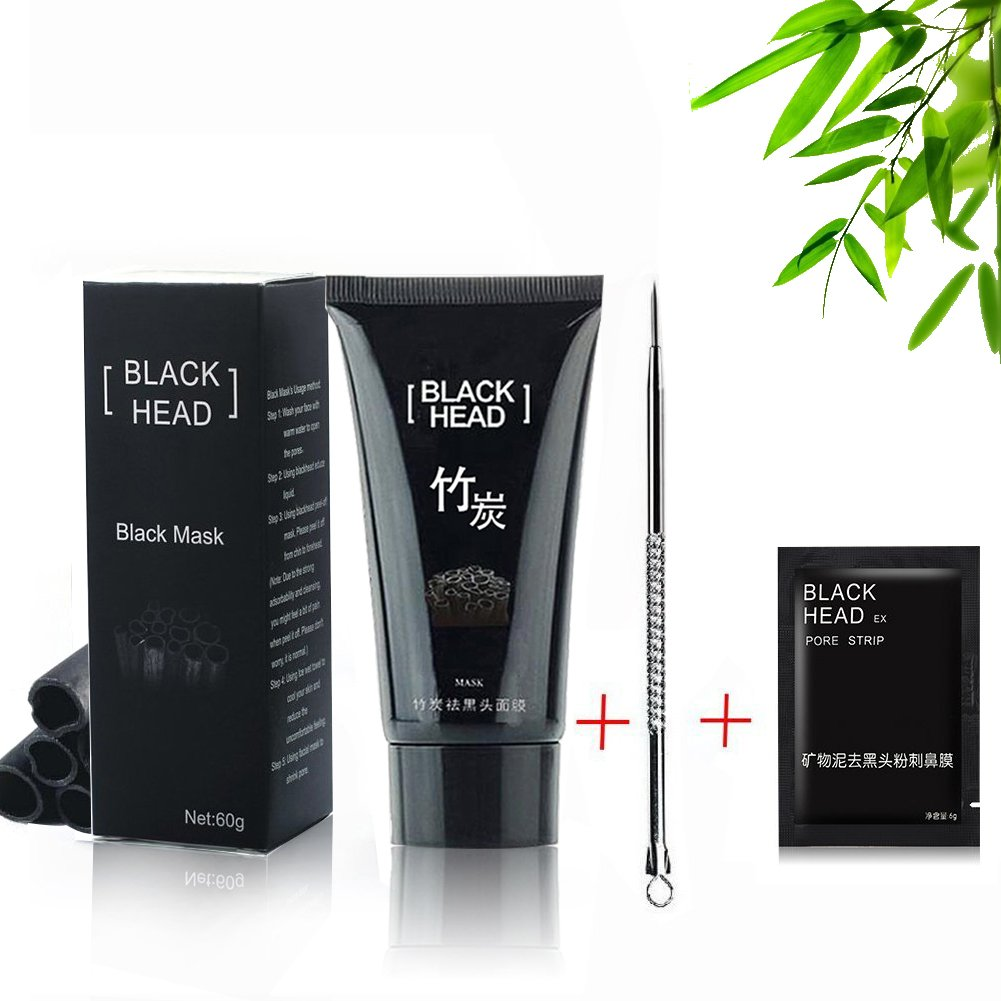Blackhead Mask, Blackhead Remover Nose Mask, Facial Blackhead Remover Tearing style Deep Cleansing Purifying Peel off the Blackhead,Natural Bamboo Charcoal Acne Treatment,Black Mud Face Mask 60g