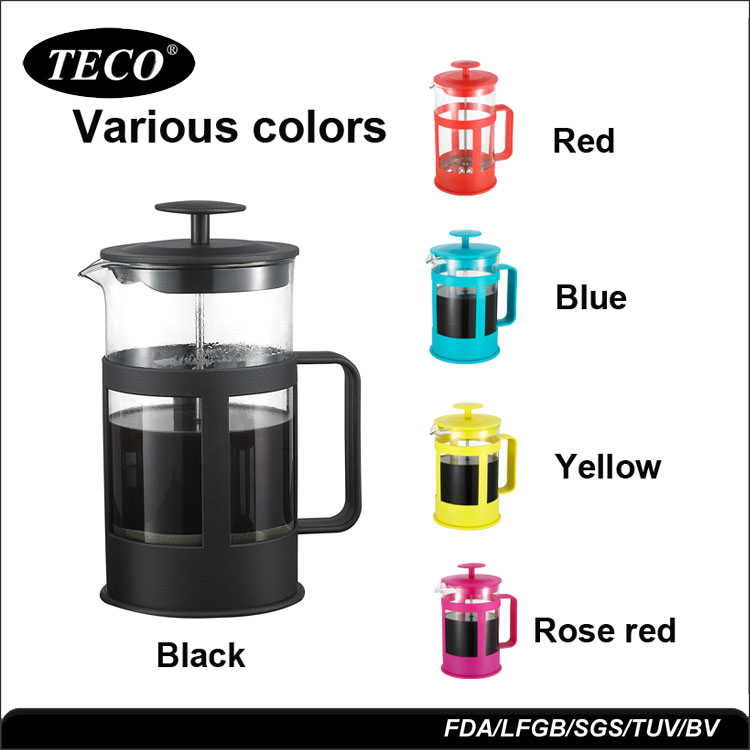 TCS-M003 al por mayor resistente al calor de vidrio de plástico de café francés prensa conjuntos de 1000 ml