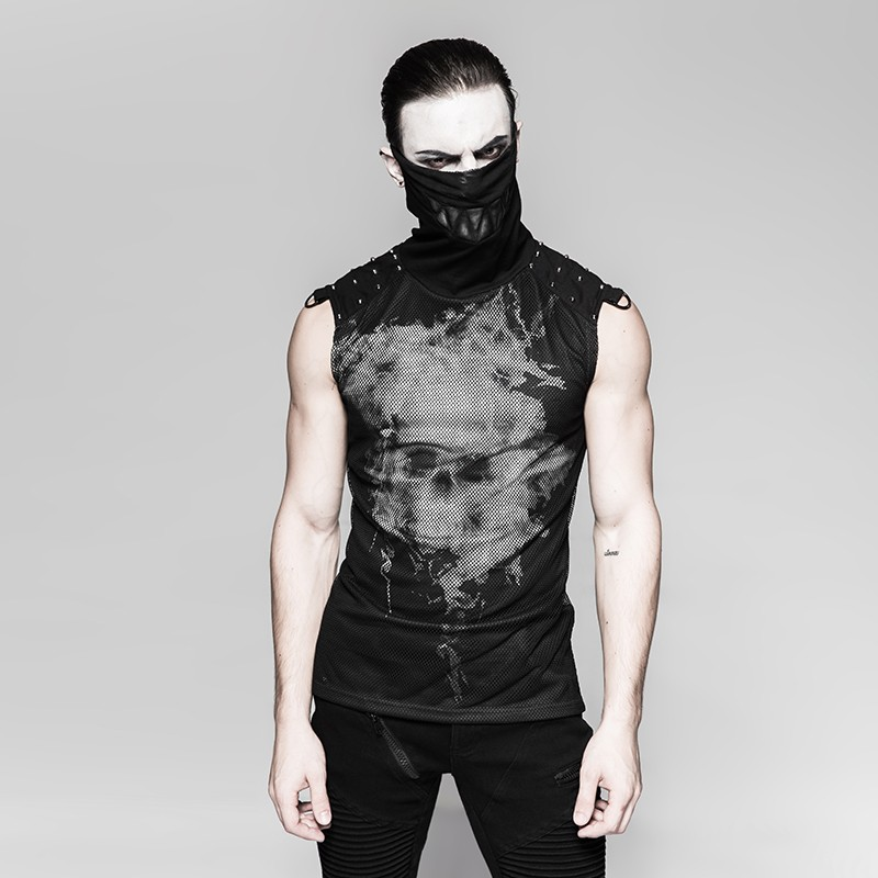 T-470 Punk black rivets puff printing knitted collar men sleeveless vest