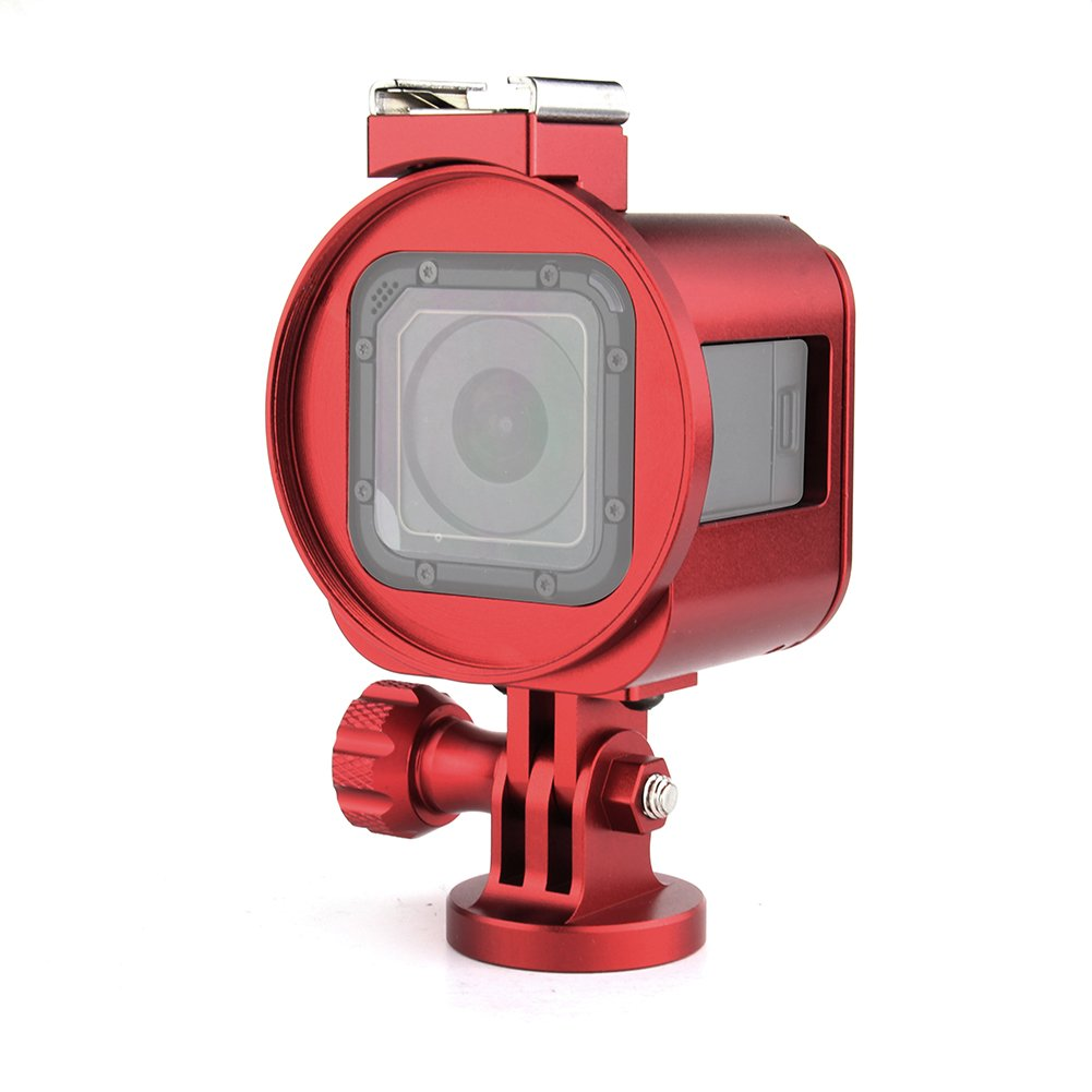 Thick Solid Protective Frame with Lens Cap and Wrench/… Nechkitter Aluminum Skeleton Case Kits for Gopro Hero5 4 Session Red