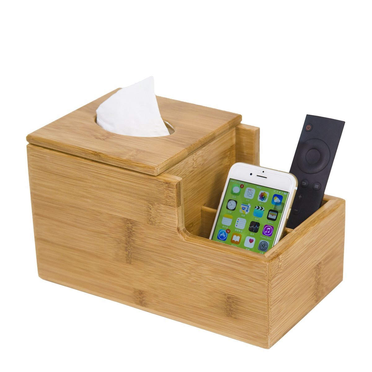 GOBAM Tissue Box Cover Square Desktop Organizer, Decorative Box for Bathroom, Home, Hotel or Office, Natural Bamboo