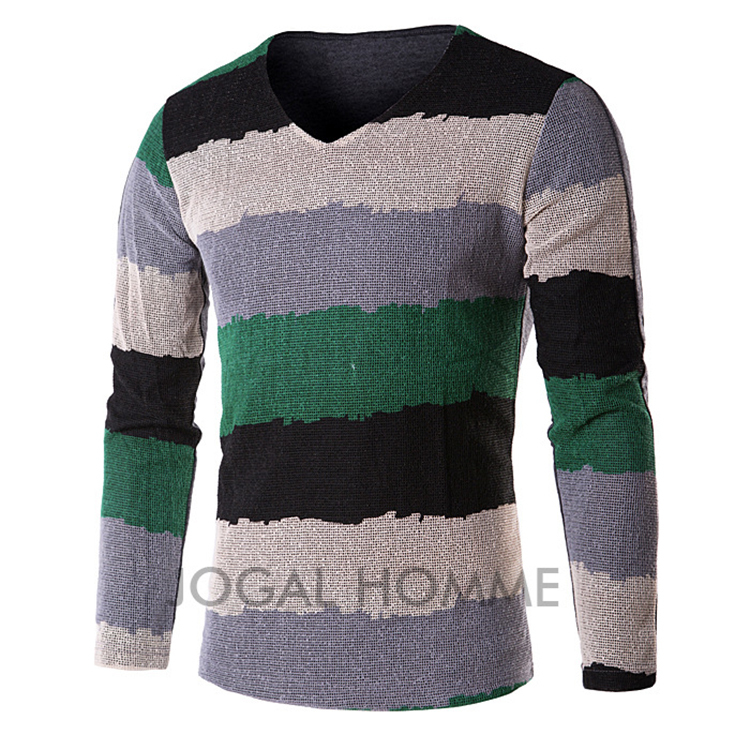 Get Quotations · Retail New+Sweater Men+Pullover Men+Long Sleeve V-Neck  Striped Casual 210ee3bfe