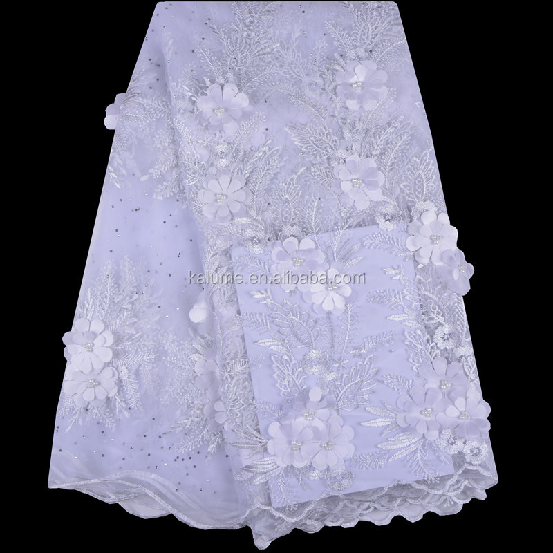 French Net Lace Fabric Wholesale 3D Applique Flower Embroidered Lace Fabric With Stones And Pearls For Bridal Dress 957