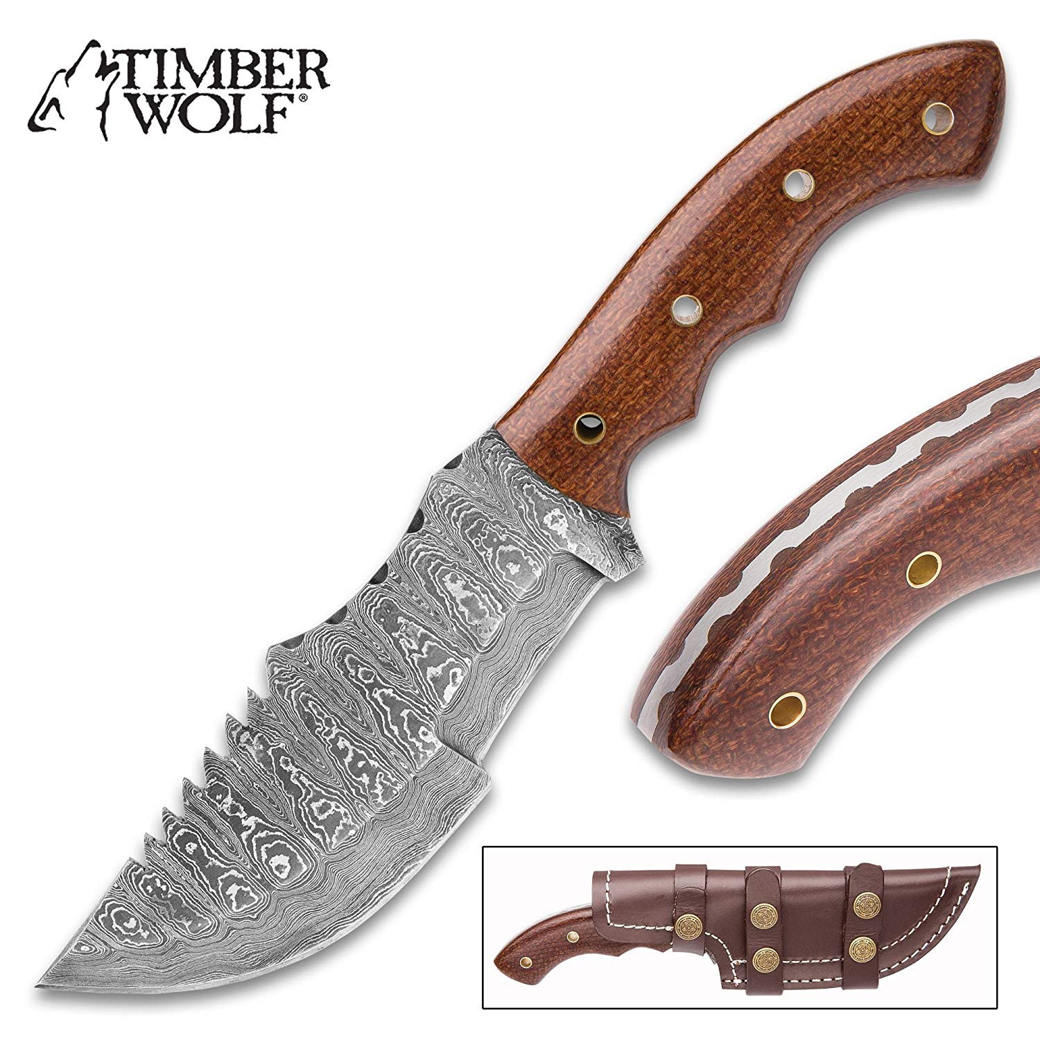 """Timber Wolf Walkabout Fixed Blade Knife - Hand Forged Damascus Steel - Full Tang - Burlap Micarta - Genuine Leather Sheath - Bowie Tracker Survival Multipurpose Utility Outdoors Chop Saw - 9 3/4"""""""