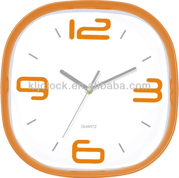 Learning Clock Square Orange Frame Wall Clock Plastic Wall Clock