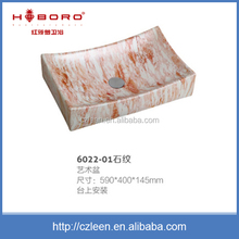 Chinese bathroom printed ceramic rectangular garden outdoor sink