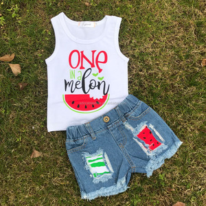 RTS summer watermelon print kids clothes little girls outfit set