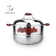 Metal Material And Eco-Friendly Feature Stainless Steel Steamer Pot Steamer Cooker Pan With Red Handles