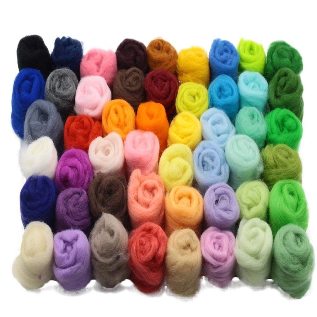 Baosity Needle Felting Wool Materials Soft Wool Fibre Yarn Roving for Art Needlework Royal Blue