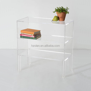 Floor Standing Acrylic Bookshelf Clear Book Stand Storage Tray For Home