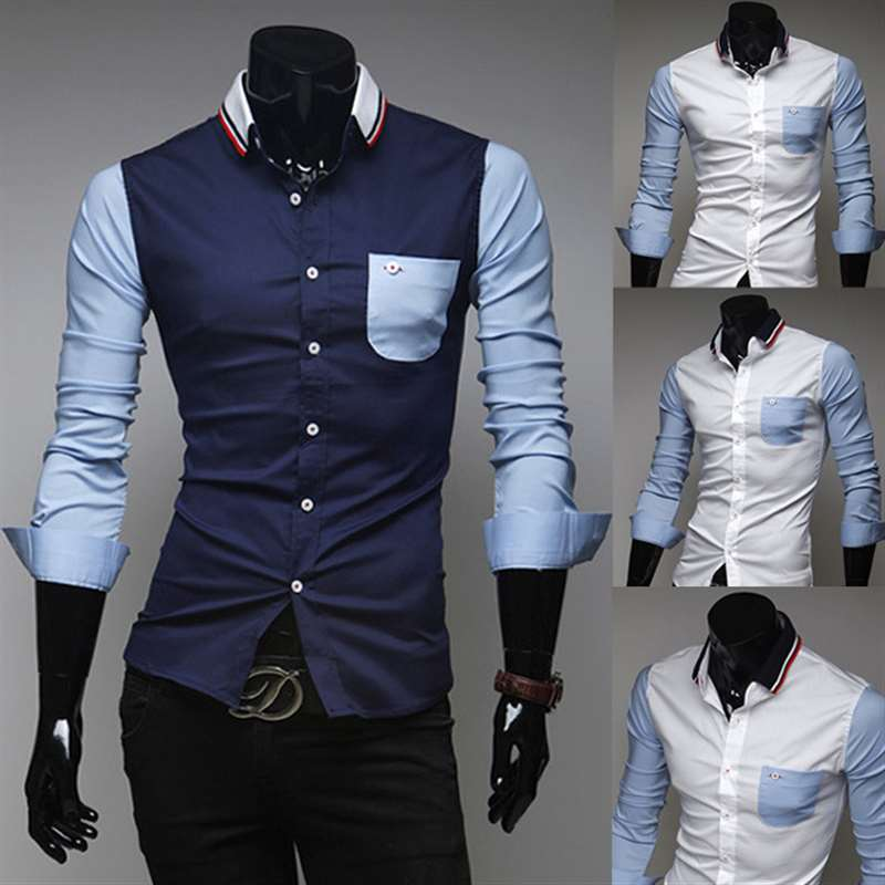 Autumn special offers men's knitted collar spell color design Men Shirt Business Slim Fit Male Shirt