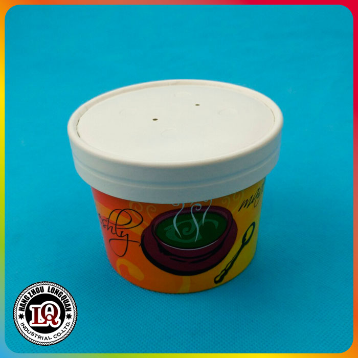 Disposable Paper Ice Cream Bowl With Paper Or PET Lids