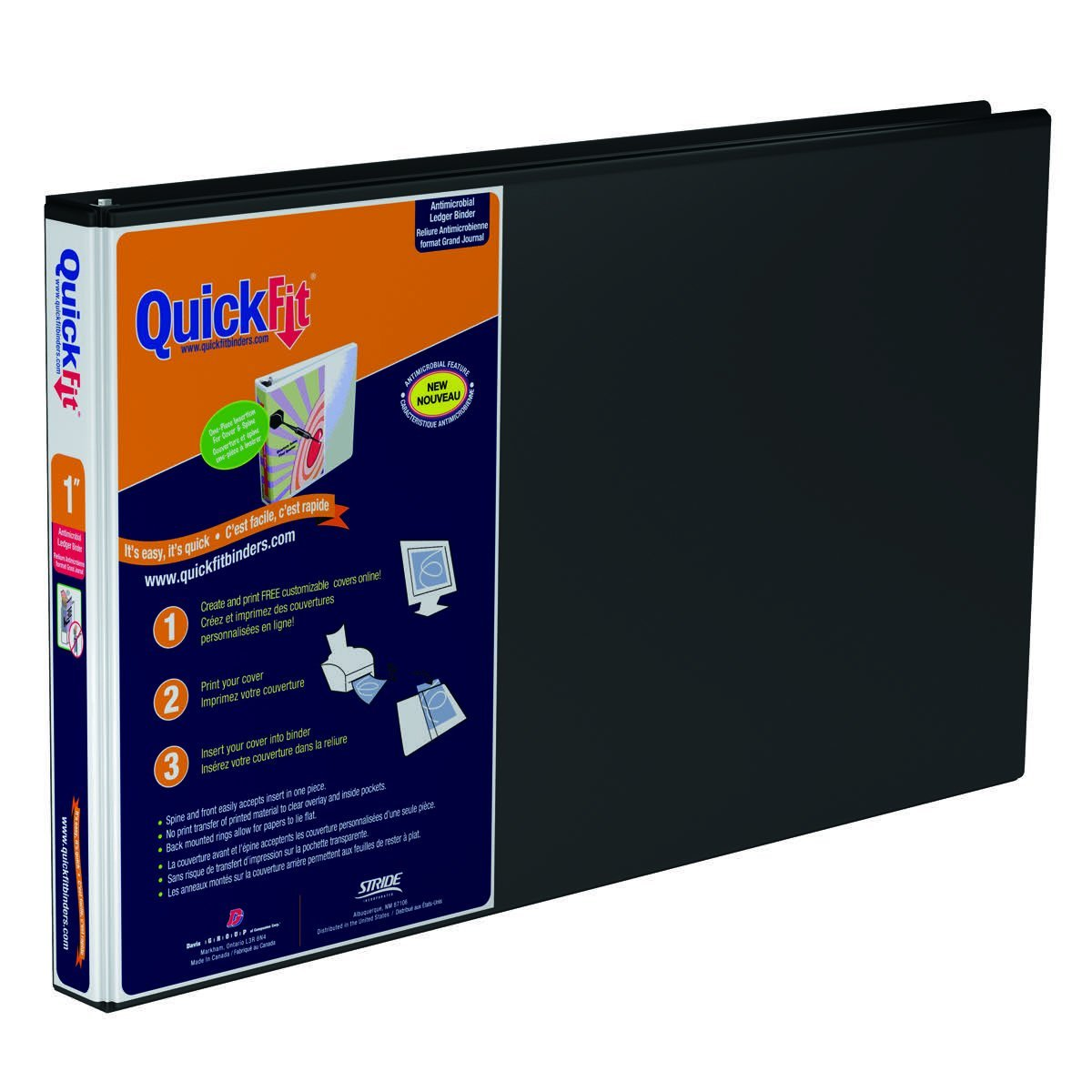 QuickFit Heavy Duty 11 x 17 Inch Landscape Spreadsheet View Binder, 1 Inch, Locking Angle D Ring, Black (94011)