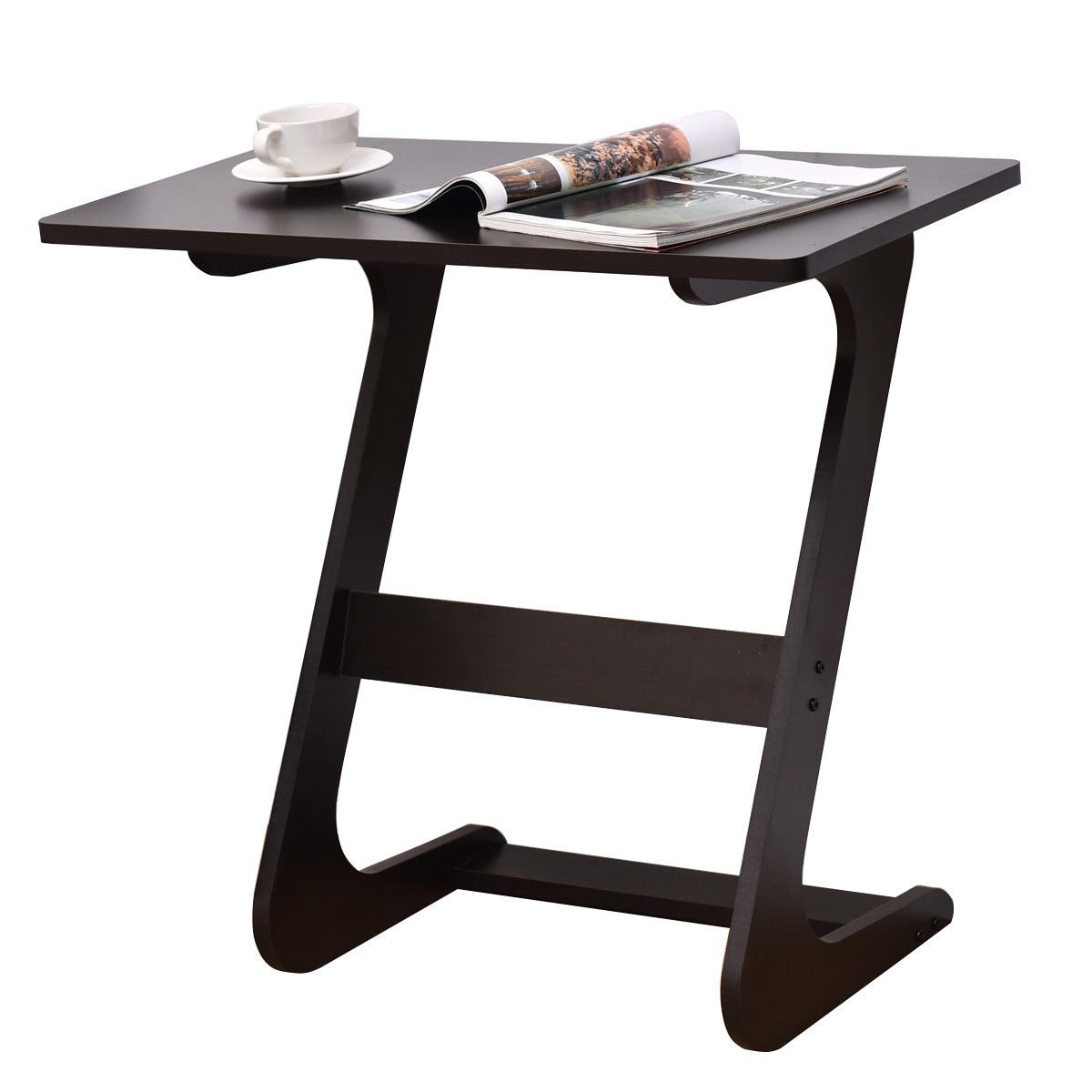 TANGKULA Sofa Table Z Style Portable Home Laptop Writing Wokstation TV Snack End Side Table Laptop Desk Coffee End Table Bed Side Snack Table (1, Wood Brown)
